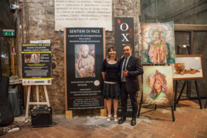 Alessandra Anca Palel con il critico AICA, Direttore Editoriale dell'Enciclopedia d'Arte Italiana